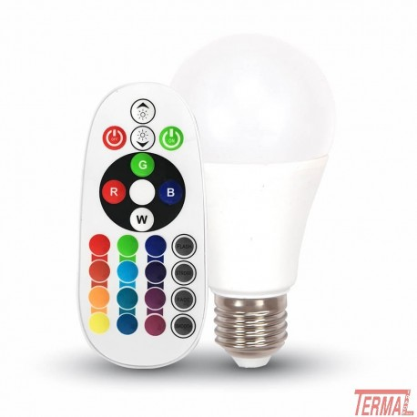 V-Tac, Led žarnica E27 6W RGB, 2700K z daljincem